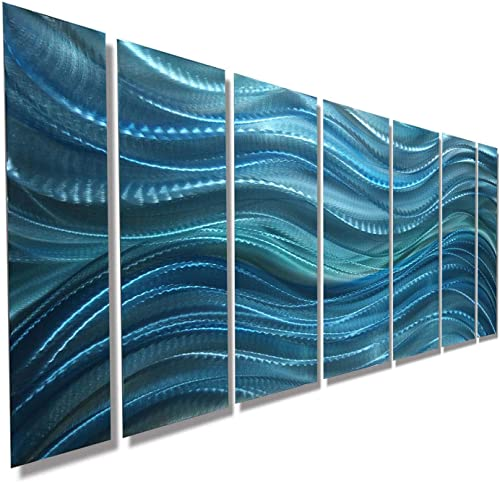 Statements2000 Modern Aqua Blue Water-Inspired Metal Wall Art – Abstract Multi-Panel Contemporary Home Office Decor- Calm Before The Storm by Jon Allen