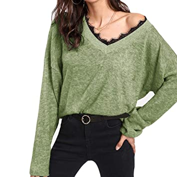c1c87382f23e3 Amazon.com  YOMXL Women V-Neck Lace Tops Casual Long Sleeve Knitted ...