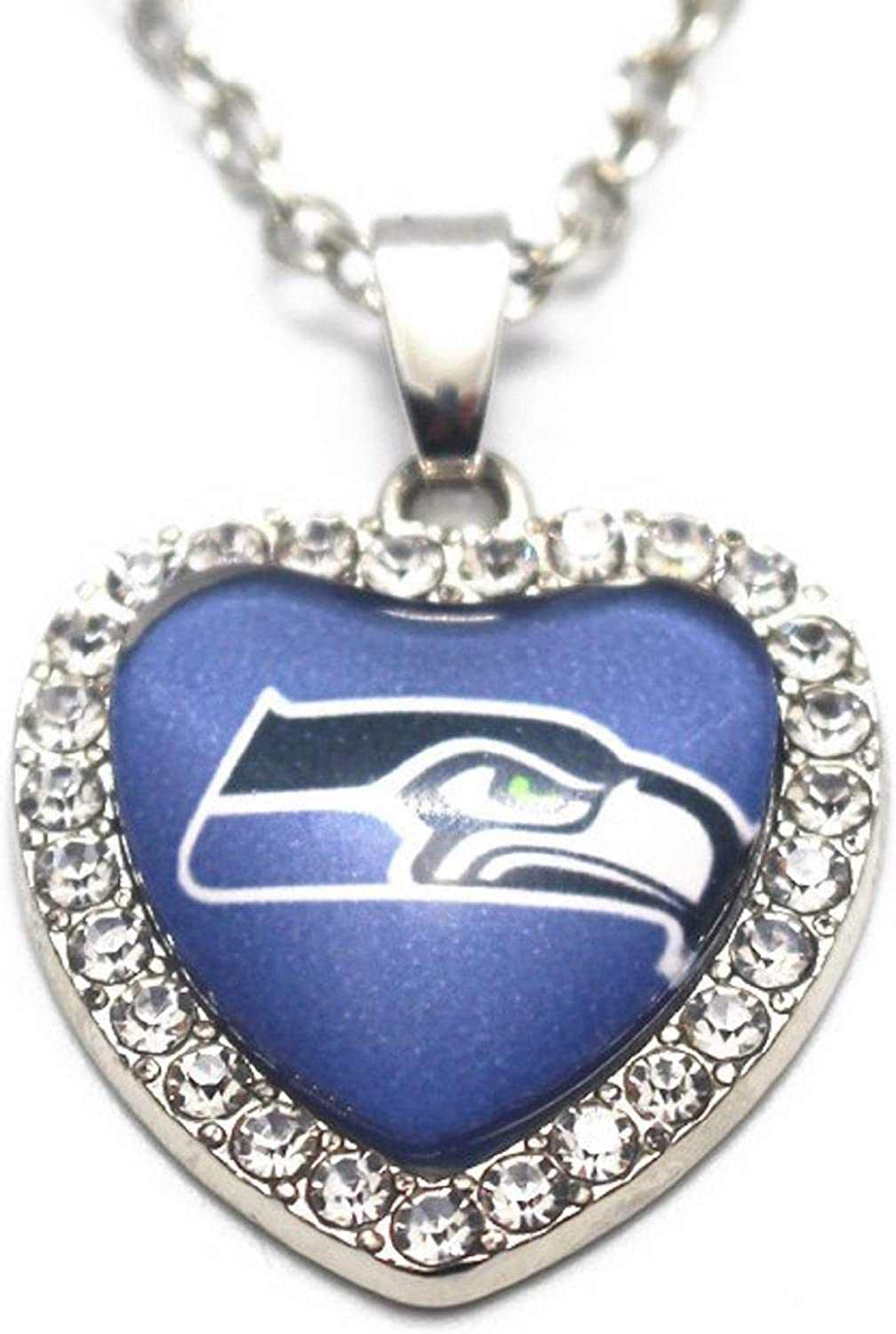 BAS Seattle Seahawks Rhinestone Glass Heart Necklace 20 Inch Alloy Chain