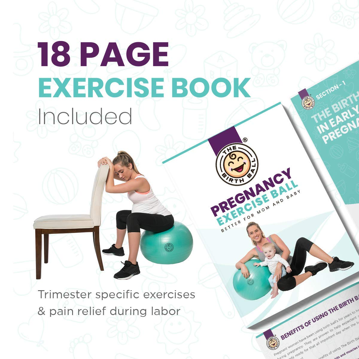 The Birth Ball - Birthing Ball for Pregnancy & Labor - 18 Page Pregnancy  Ball Exercises Guide by Trimester - Non Slip Socks - How to Dilate, Induce,