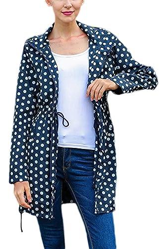 YACUN Mujeres Casual Polka Dot Long Sleeve Hooded Chaqueta Trench Coat