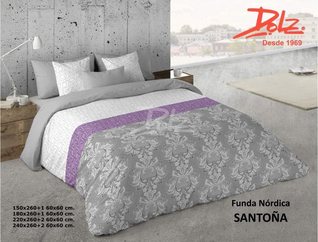 Dolz Funda nórdica Santoña Gris para cama de matrimonio 240 x 260 cm + 2 fundas de cojín 60 x 60 cm: Amazon.es: Bebé