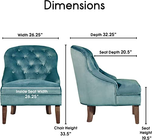 Elle Decor Vera Wingback Upholstered Tufted Armchair, Velvet Microfiber Living Room Accent Chair, Padded Back Rest, Teal