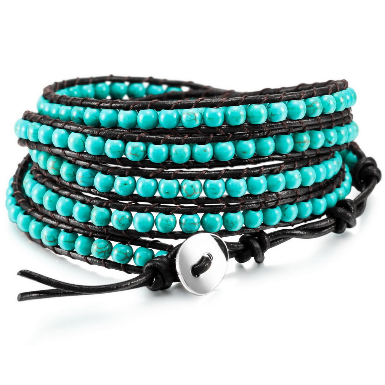 MOWOM Alloy Genuine Leather Bracelet Bangle Cuff Simulated Stone Rope Bead 5 Wrap Adjustable ca5020210