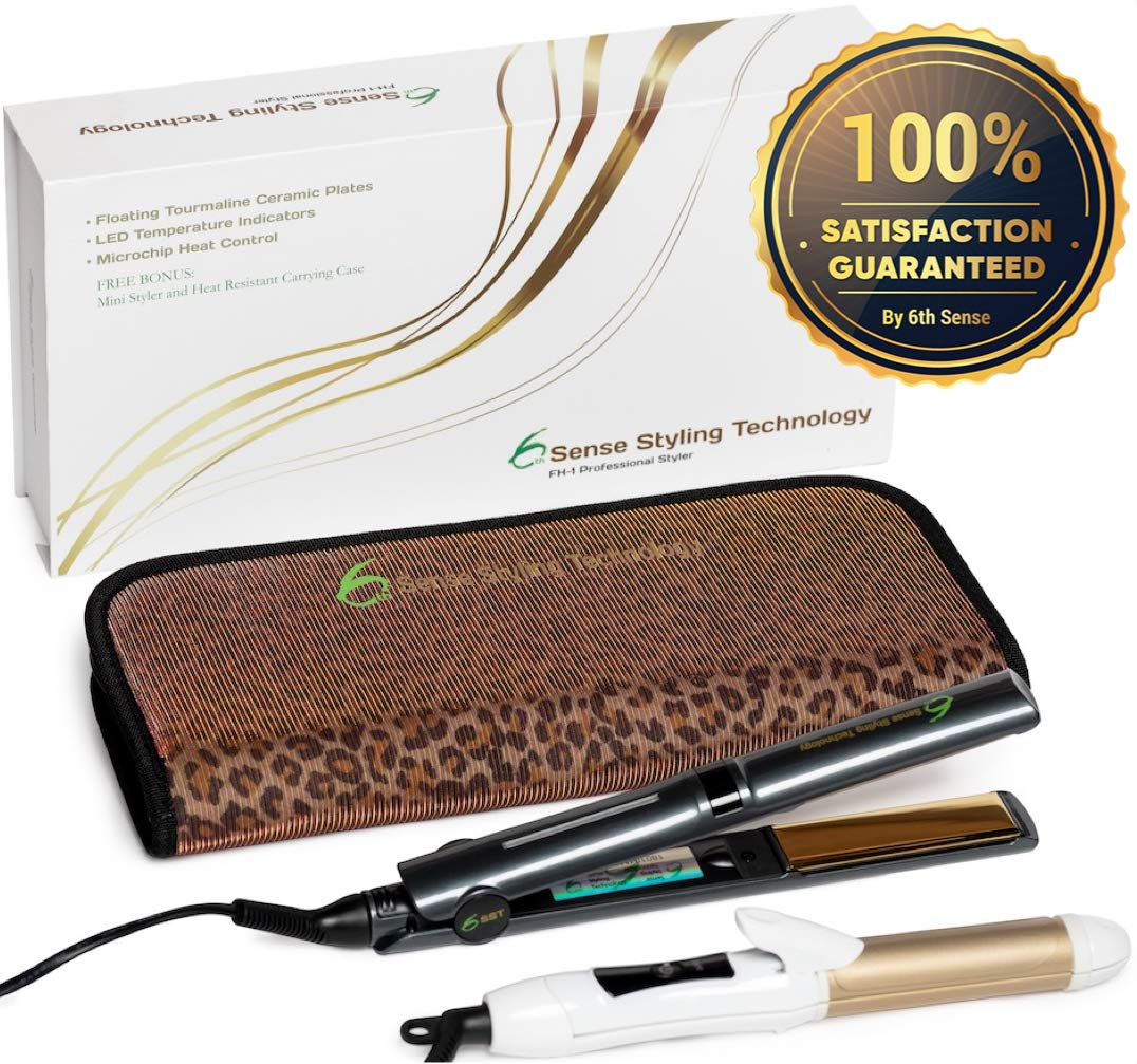 Professional Flat Iron Hair Straightener Ceramic Tourmaline 1'' Floating Plates 1 Pass No Pinch Free 2-in-1 Mini Iron & Heat Resistant Carry Case by 6th Sense Styling Technology