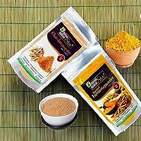 Online Quality Store Kasturi Turmeric Powder for Face(50 Grams) + Sandalwood Powder Pure Organic for Skin Whitening(50 Grams) - 2 in 1 Combo Pack, Total 100 Grams