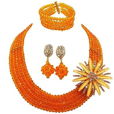 b85127cb4251 laanc 18 inch c-chain 5 filas naranja cristal boda nigeriano cuentas  africanos joyería conjuntos  Amazon.es  Joyería