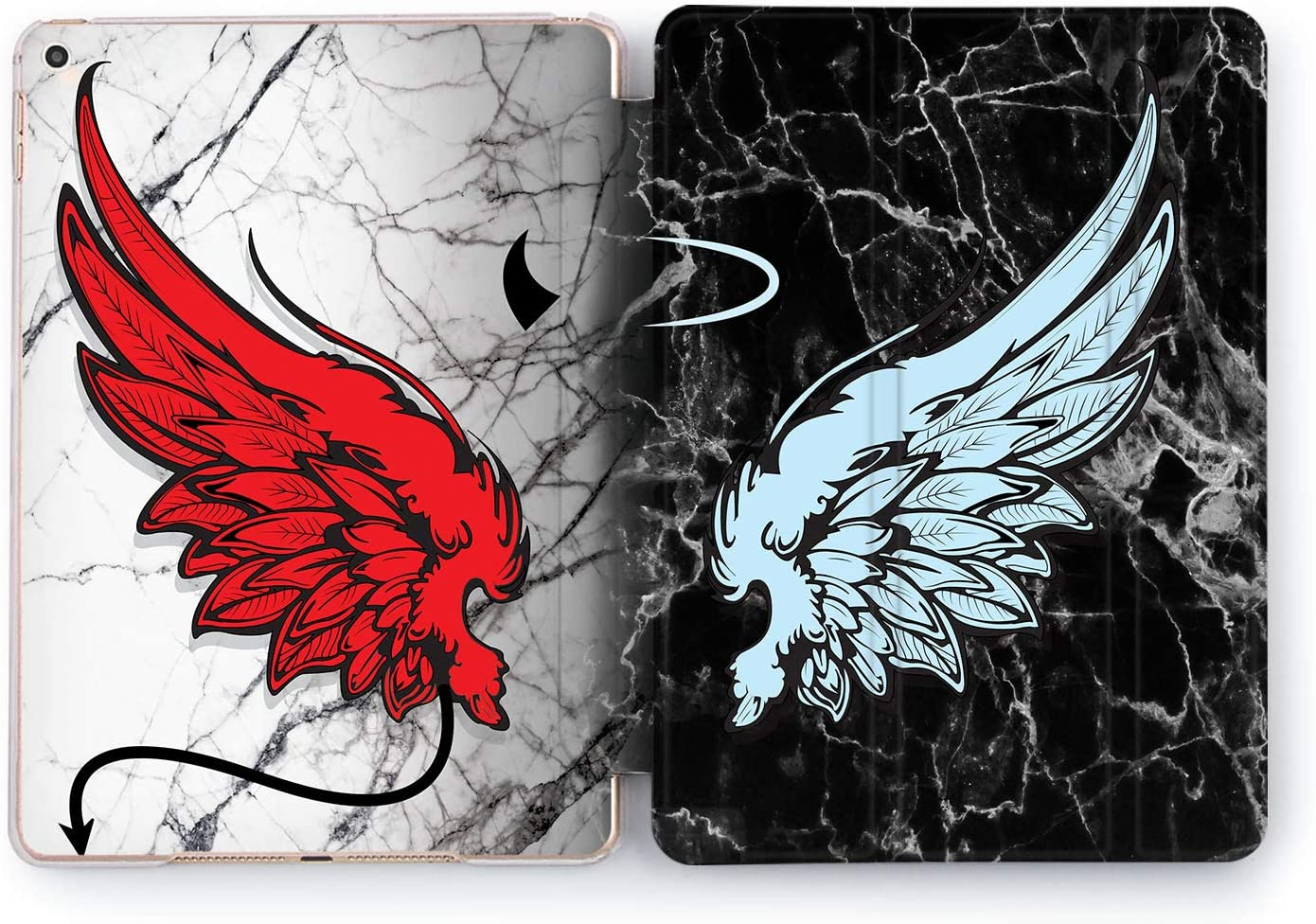 Wonder Wild Case Compatible with Apple iPad Angel and Devil Pro 9.7 11 inch Mini 1 2 3 4 Air 2 10.5 12.9 11 10.2 5th 6th Gen Hard Cover Heaven Hell Wings Horns Halo Tale Opposition Antithetical