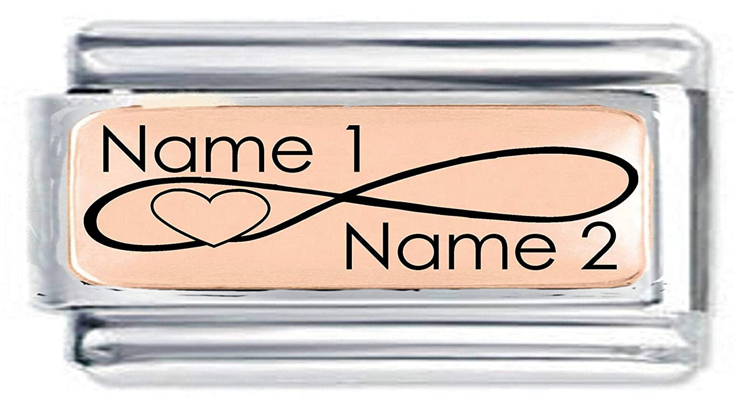 fits Nomination Daisy Charm Superlink Rose Gold Plate TWO NAMES /& INFINITY HEART Italian Charm