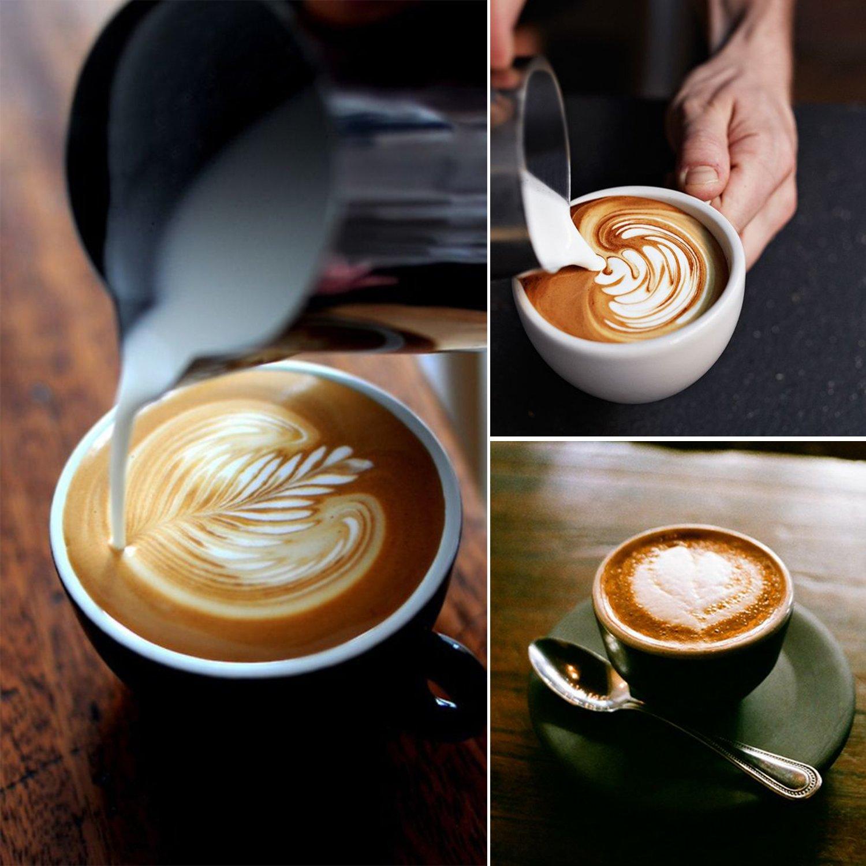 aicok espumador de leche para café, café con leche, Capuchino, Leche vaporizador eléctrico, calentador de acero inoxidable y espuma - 300 ml: Amazon.es: ...