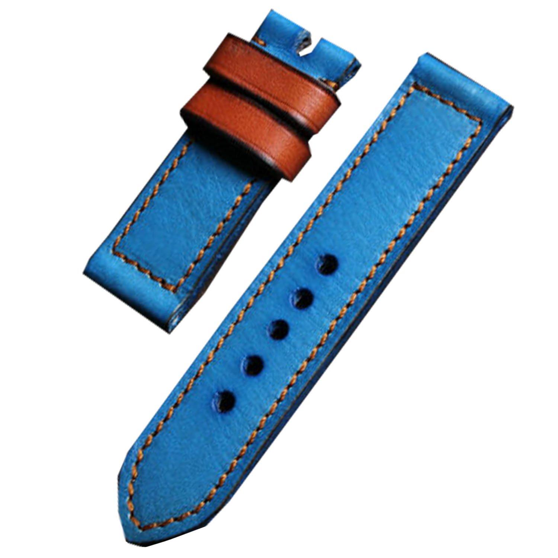 HQ handgefertigt echtes Leder Armbanduhr Band 24 mm lang Uhrenarmband aus Leder