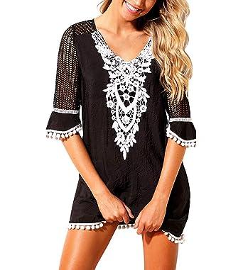 69762b7d13b6d WANGSAURA Womens Chiffon/Cotton Bikini Cover Ups Tassel Beach Dress Lace  Crochet Beachwear Bathing Suit Swimsuit Cover Ups for Women Holiday: Amazon. co.uk: ...