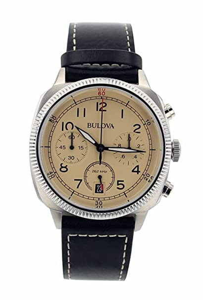 5e30b10af Image Unavailable. Image not available for. Color: Supershop® Bulova Men's  96B231 Chronograph Black Genuine Leather Beige Dial Watch