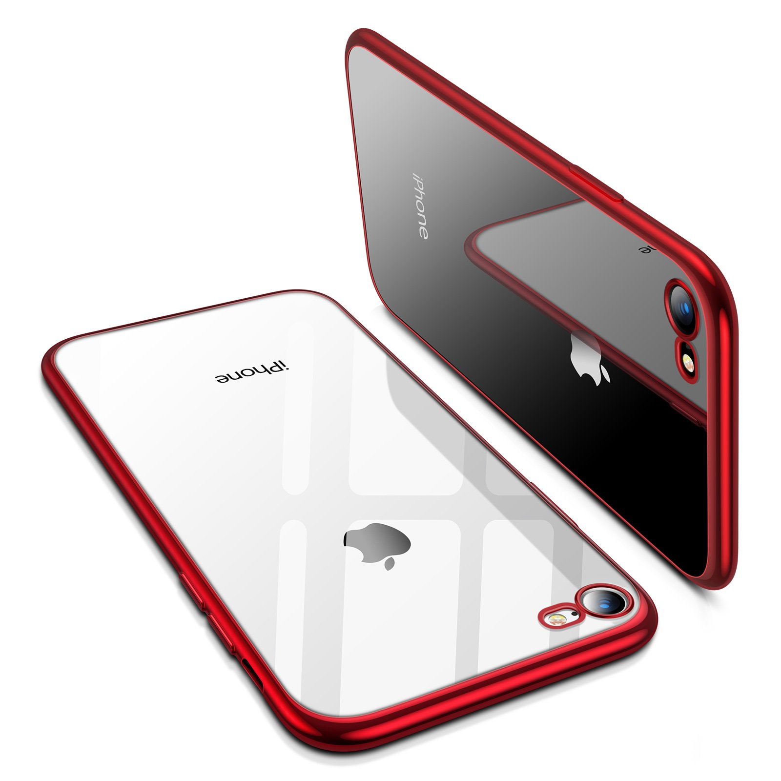 TORRAS Crystal Clear iPhone 8 Case/iPhone 7 Case, Soft Cover Case with Electroplated Frame Ultra Slim TPU Gel Case Compatible with iPhone 7/8 - Red