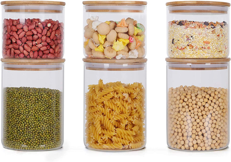 juego de 6 tarros de cristal herm/éticos para especias especias tarros de cristal con tapa 1400 ml juego de tarros de cristal para almacenar t/é GoMaihe 800 ml