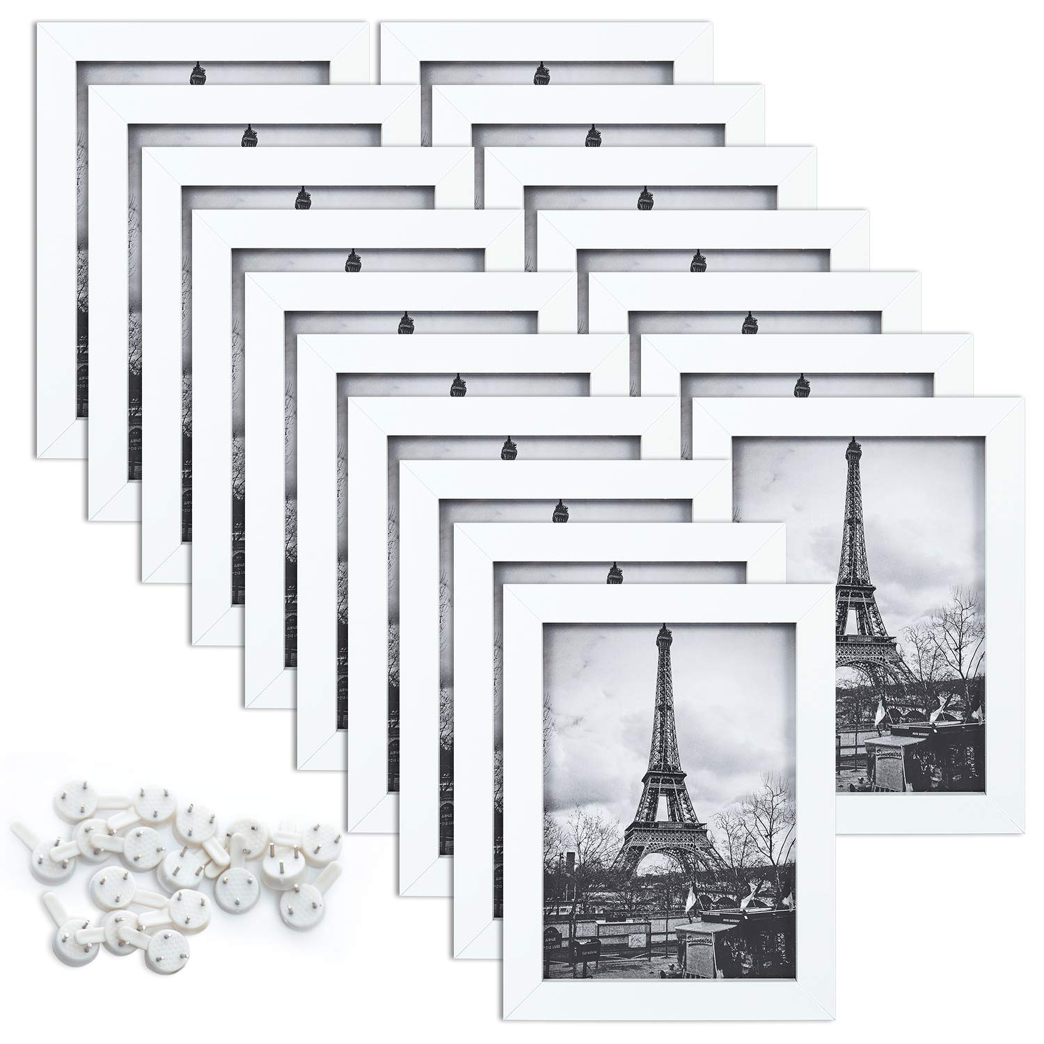 upsimples 5x7 Picture Frame Set of 17,Multi Photo Frames Collage for Wall or Tabletop Display,White by upsimples