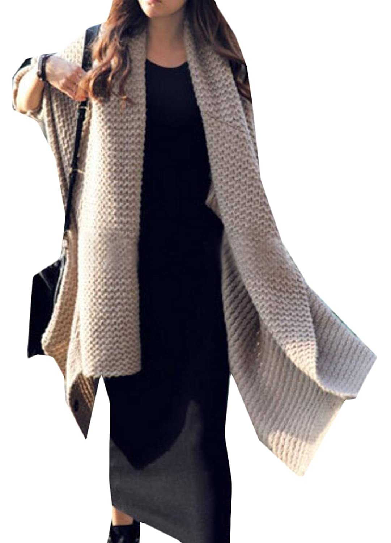 BYBU Womens Fashion Medium-Length Loose Bat Sweater Shawl Jacket