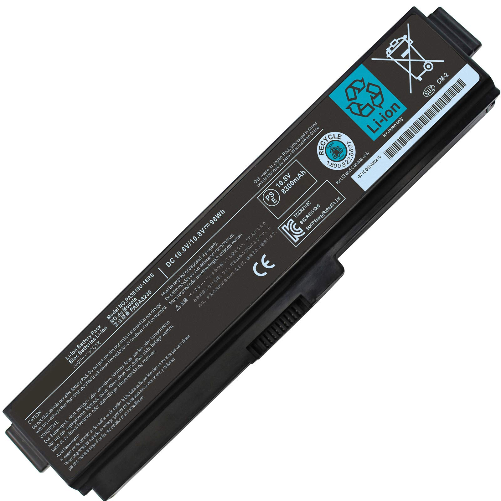 Bateria DOMALLK 12 Celdas PA3819U-1BRS PA3817U-1BRS Toshiba