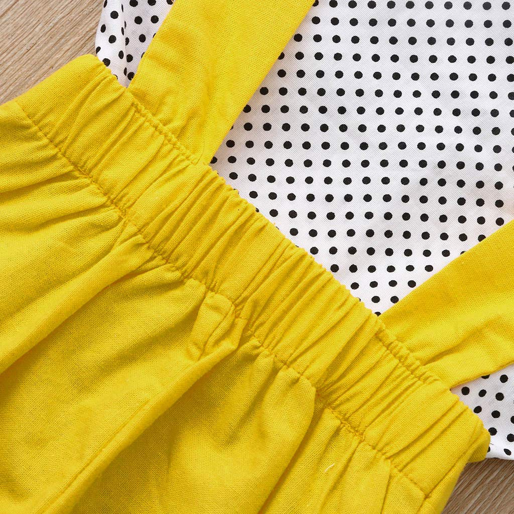 ❤️Ywoow❤️ Summer Girls Clothes Sets Solid Overalls Shorts Girls Sleeveless Dot Tops Outfits Toddler Baby Bow T-Shirt