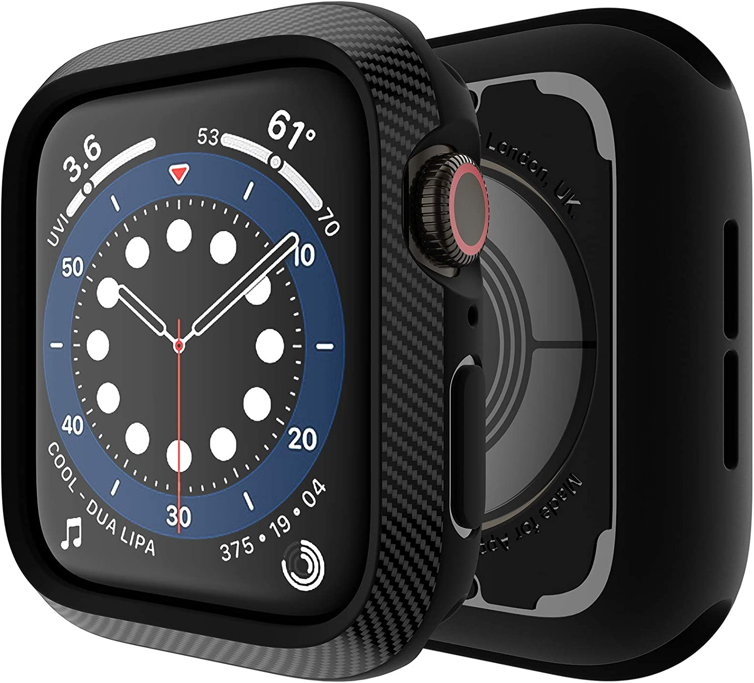 Techump Slim Carbon Fiber Pattern Design Matte Finish TPU Case Impactio Compatible with Apple Watch Series 6/SE/5/4 44mm, Ultra-Thin Protective Cover Bumper Compatible with iWatch 6/SE/5/4 – Black