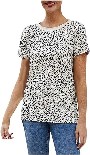 Hontongo Camisa de Manga Corta Mujer con Estampado de Camuflaje de Leopardo Blusas Ajustadas Tops Blusa para Mujer: Amazon.es: Ropa y accesorios