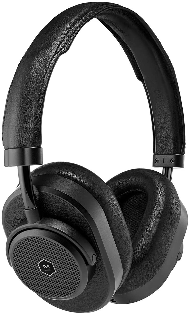 Master & Dynamic MW65 Active Noise-Cancelling (ANC) Wireless Headphones –, Bluetooth Over-Ear Headphones with Mic - Black Metal/Black Leather
