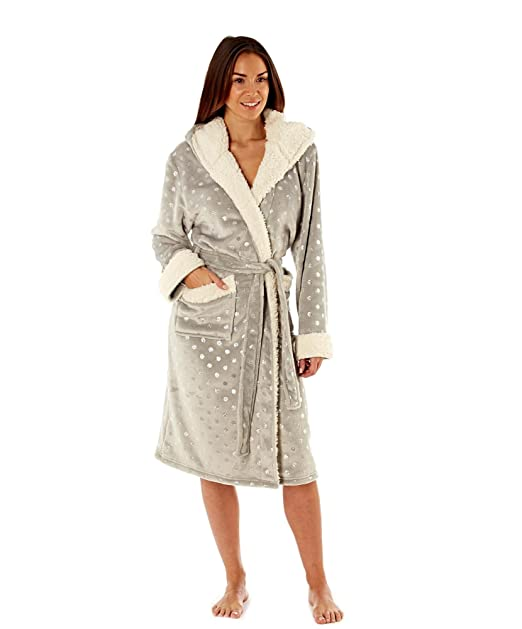 MasQ Ladies Luxury Hooded Fleece Robe with Sherpa Trim Navy at ... 622a2f8de