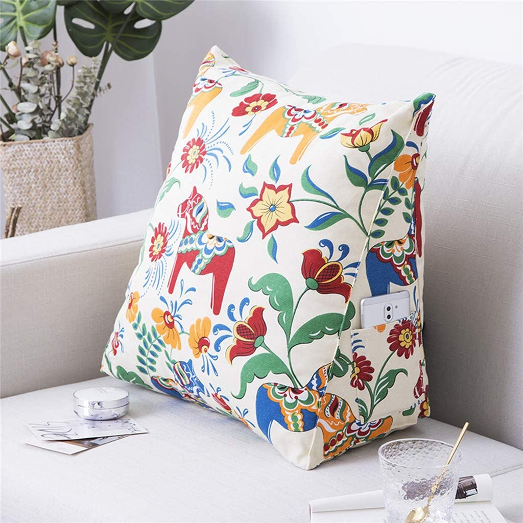 FAERIE Cotton Canvas Pillow Cartoon Backrest Cushion Gift Triangle Pillow Wedge Pillow Bed Sofa Decoration A