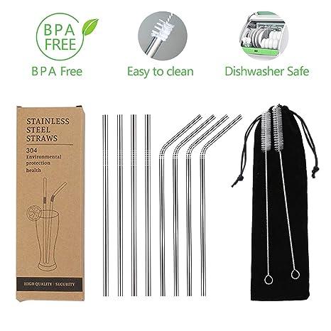 Pajitas limpiadoras de acero inoxidable, reutilizables, 6 mm ...