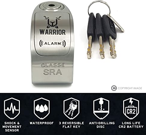 Warrior Wa10s Motorcycle Anti Theft Device Approved Class Sra Alarm Disc 120 Db Diameter 10 10 Mm Auto