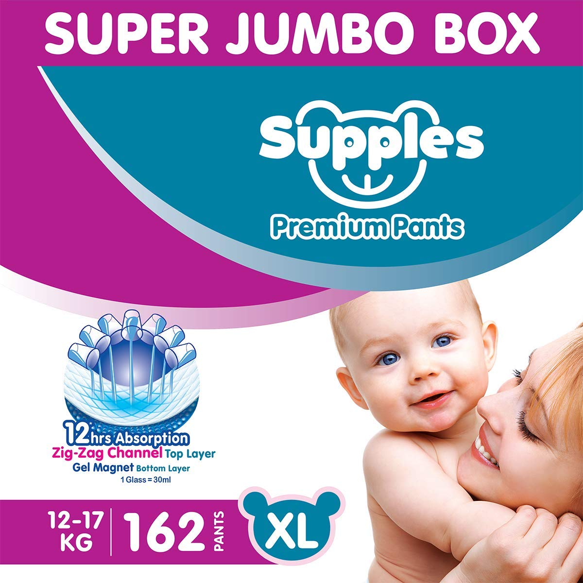 Supples Baby Diaper Pants XL Pack of 3 Super Jumbo Box (162 Piece)