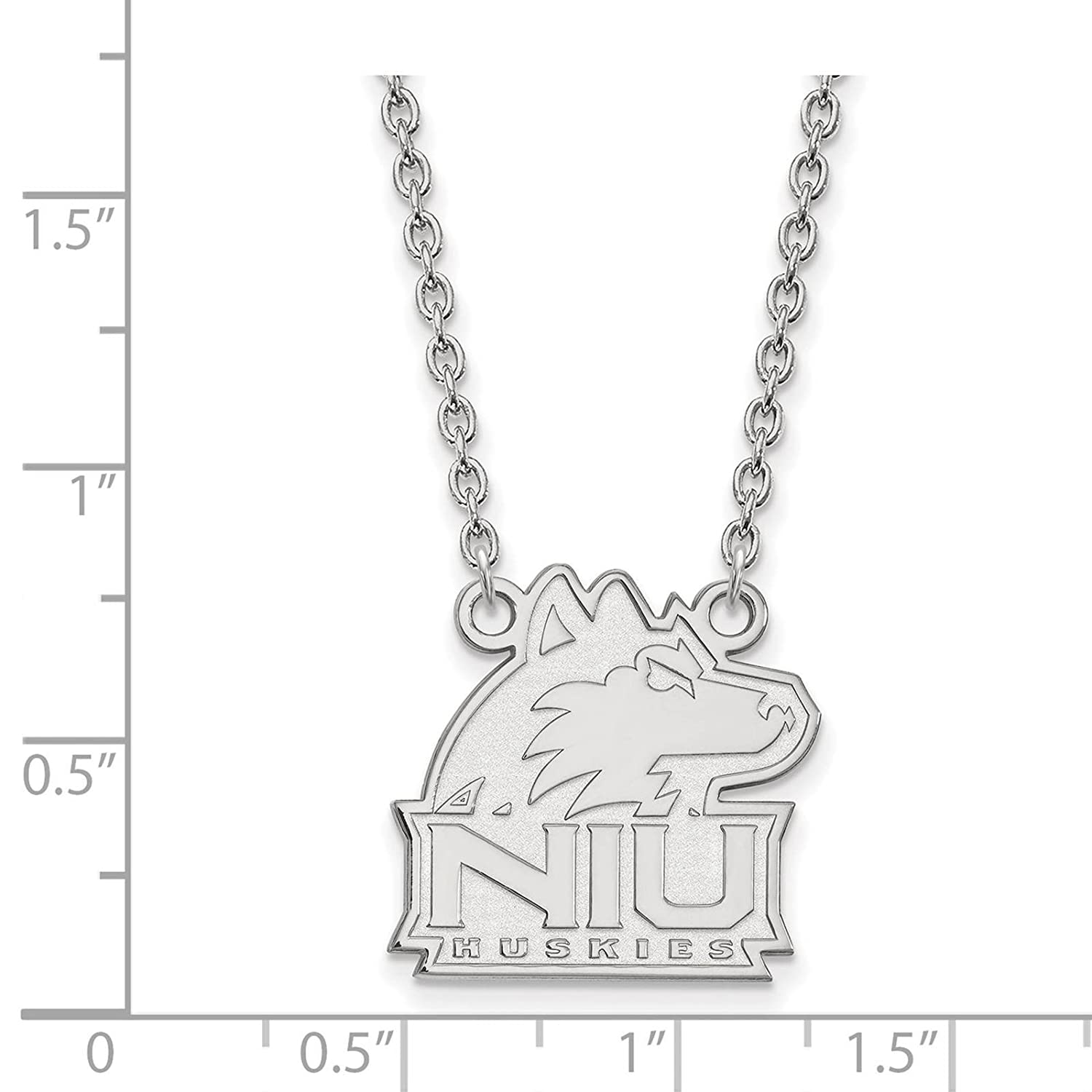 925 Sterling Silver Rhodium-plated Laser-cut Northern Illinois University Large Pendant w//Necklace 18