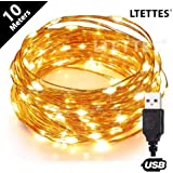 LTETTES Copper Wire LED String Light USB Powered Decorative Fairy String Lights Starry Decoration Tapestry Christmas Diwali Bedroom Wedding Festival (10 Meters 100 LED)