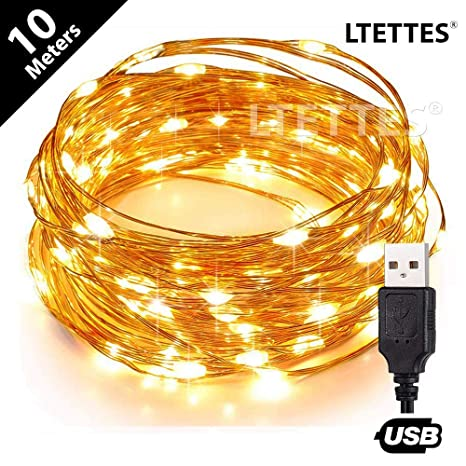 LTETTES 10 Meters 100 LED USB Powered Warm White Ultra Durable Waterproof  Copper LED Decorative Fairy Star String Lights for For  Diwali,Christmas,Home