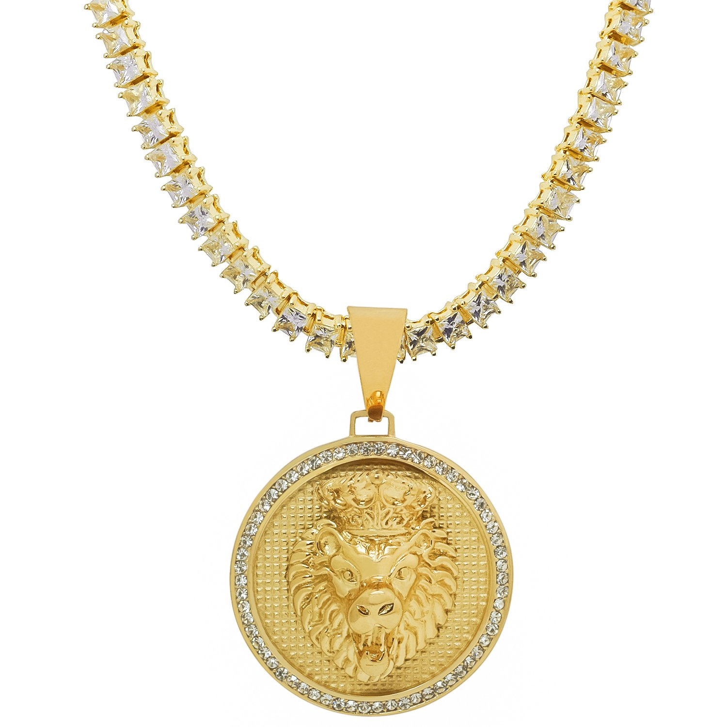 Stainless Steel Yellow Gold-Tone Iced Out Hip Hop Bling Crowned Lion Head Medallion Pendant 1 Row Square Cubic Zirconia Princess Cut Stone Tennis Chain 20 Necklace Choker Chain
