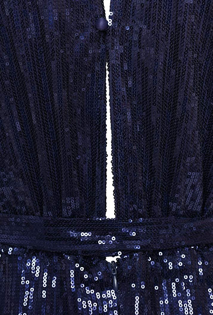 Forever Unique WF5230 Women/'s Sequin Halter Neck Midi Dress Navy