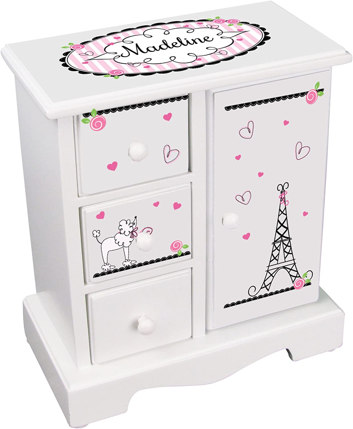 Amazon Com Mybambino Personalized Girls Jewelry Armoire Chest Paris France Box W Drawers Necklace Holder Home Kitchen