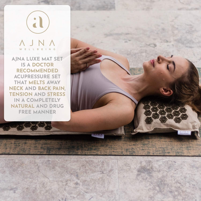 Acupressure Mat & Pillow Set - Natural Organic Cotton Acupuncture Mat & Bag Set