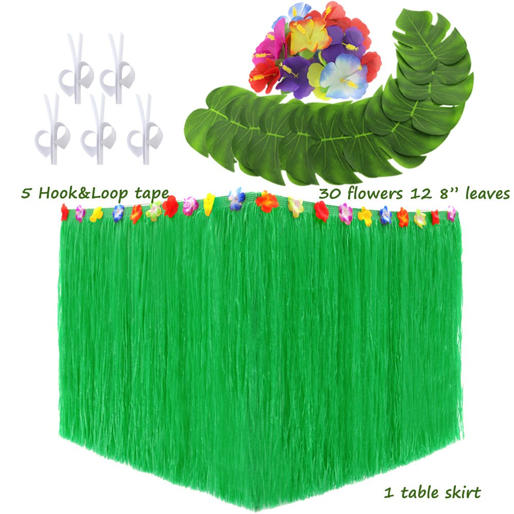 LoveS Hawaiian Luau Party Supplies Set - 1Pack Hawaiian Grass Table Skirt with 12Pcs 8'' Tropical Palm Monstera Leaves and 30Pcs Hibiscus Flowers (5Pcs Adhesive Hook & Loop) (green)