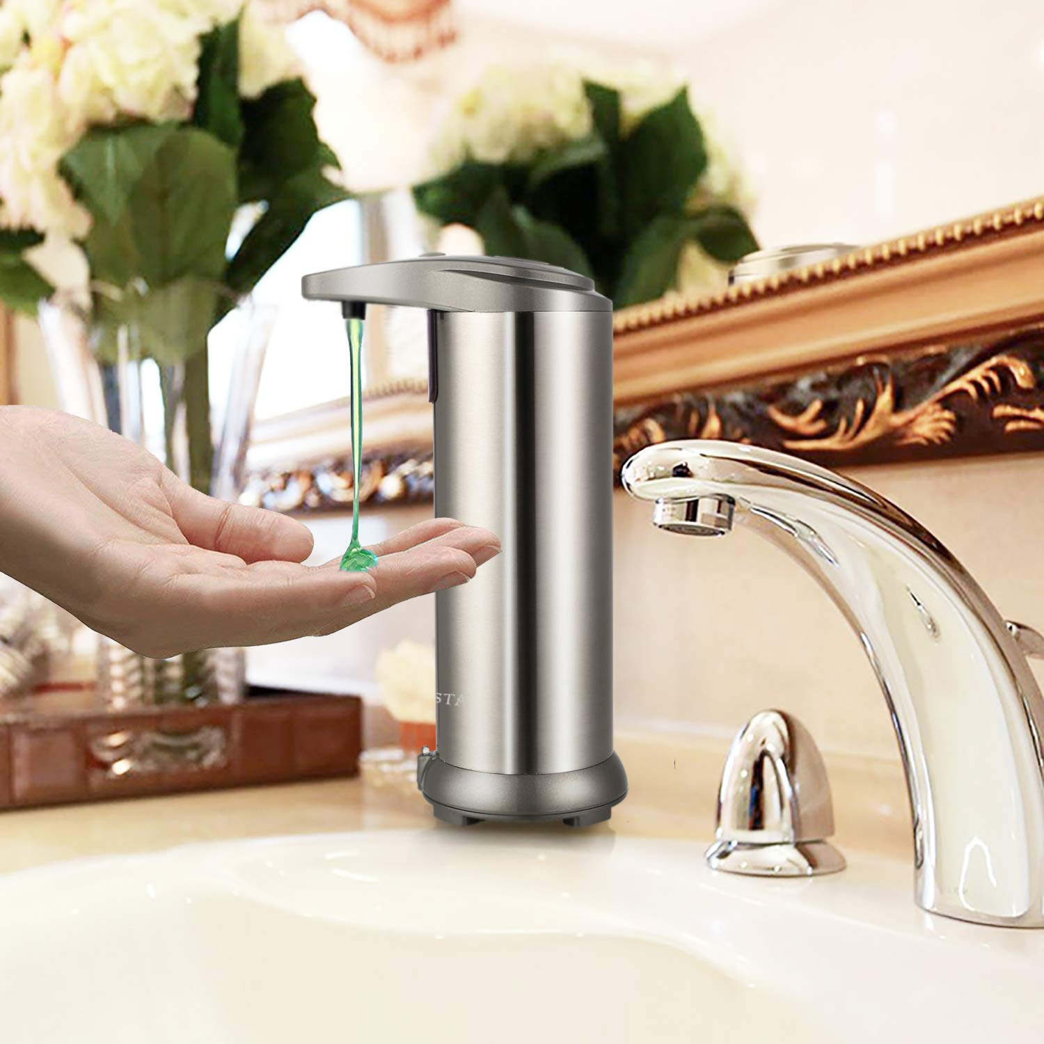 Chesta Automatic Soap Dispenser Stainless-Steel Pump for Kitchen Sinks /& Bathroom Countertops Handsfree Canister Which Helps to Eliminate The Transfer of Bacteria