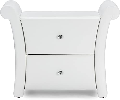 Baxton Studio Victoria Faux Leather Upholstered Modern Nightstand, Large, White
