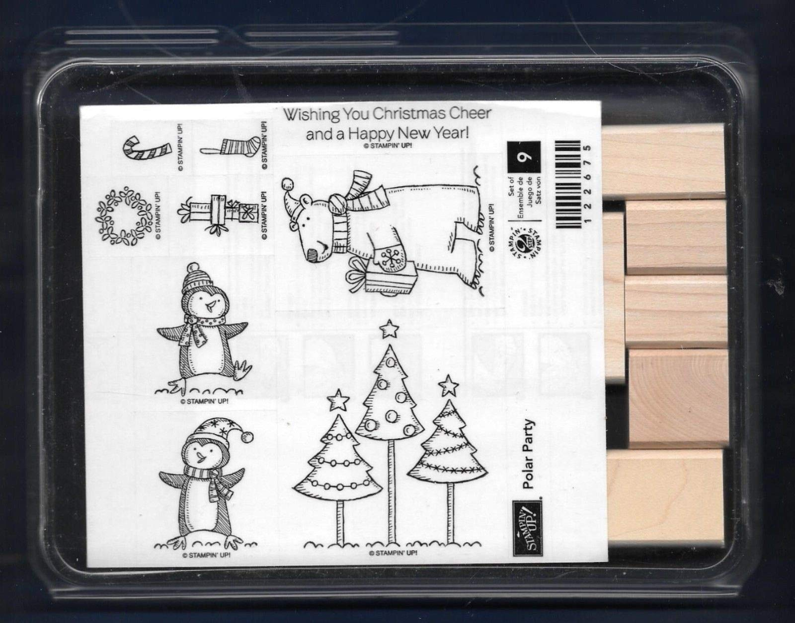 Rubber Stamp Frames Polar Party Set Penguin Bear Christmas Cheer New Wood Rubber Stamp