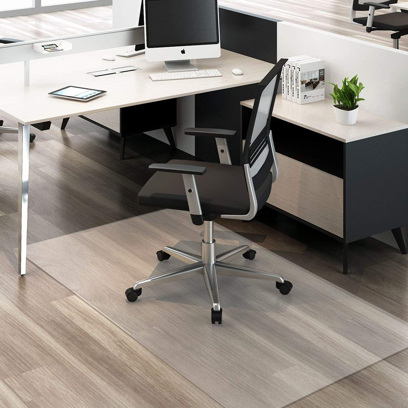 HYNAWIN Large Office Chair Mat for Hardwood Floors - 59''×47'',Heavy Duty Clear Wood/Tile Floor Protector PVC Transparent by HYNAWIN