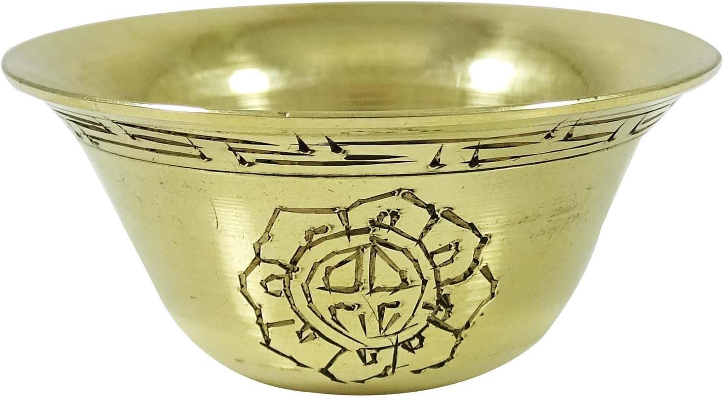 チベット仏教Offeringボウル従来Brass Carved Holy Water Bowls Set