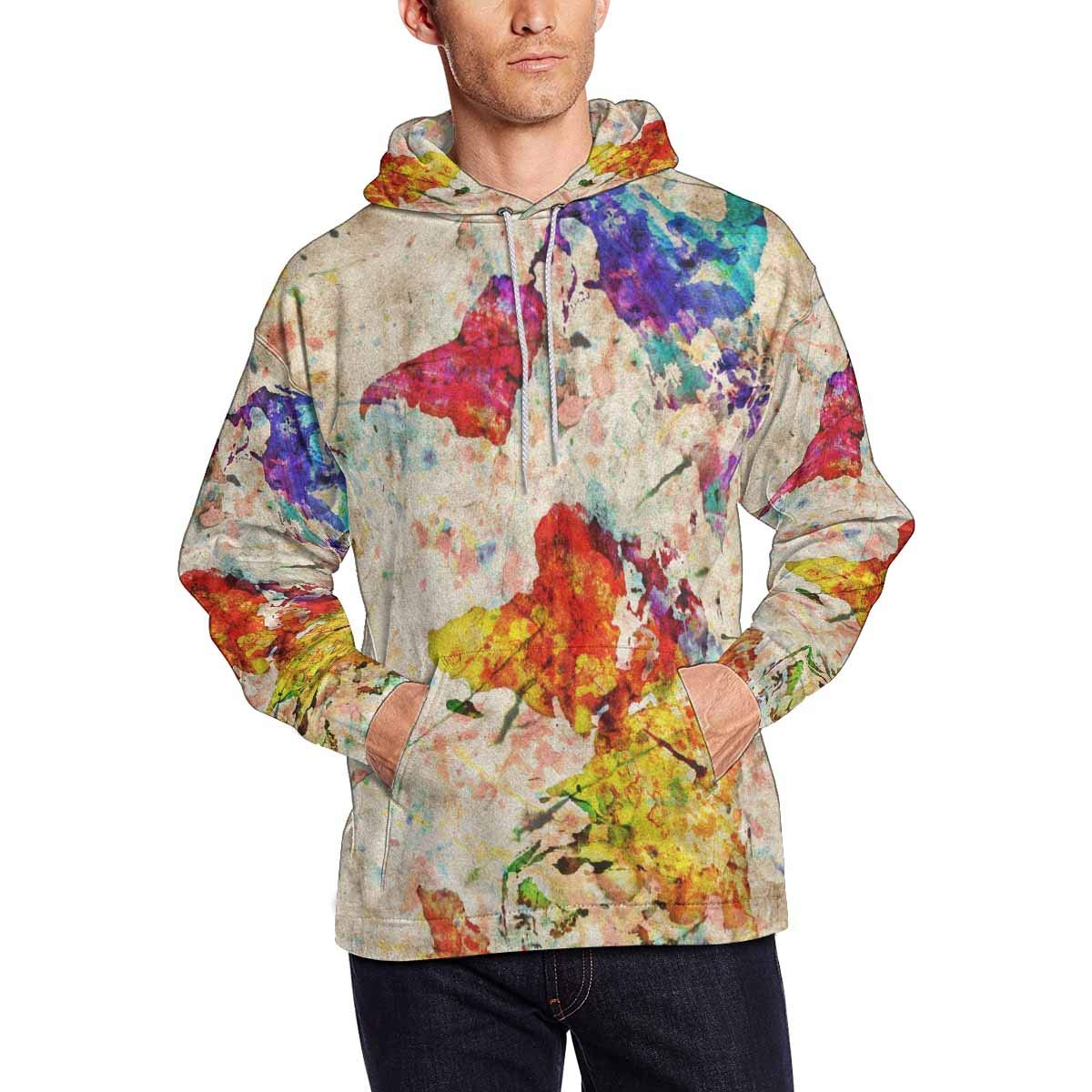 INTERESTPRINT Grunge Map of The World Long-Sleeve All Over Print Mens Hoodie