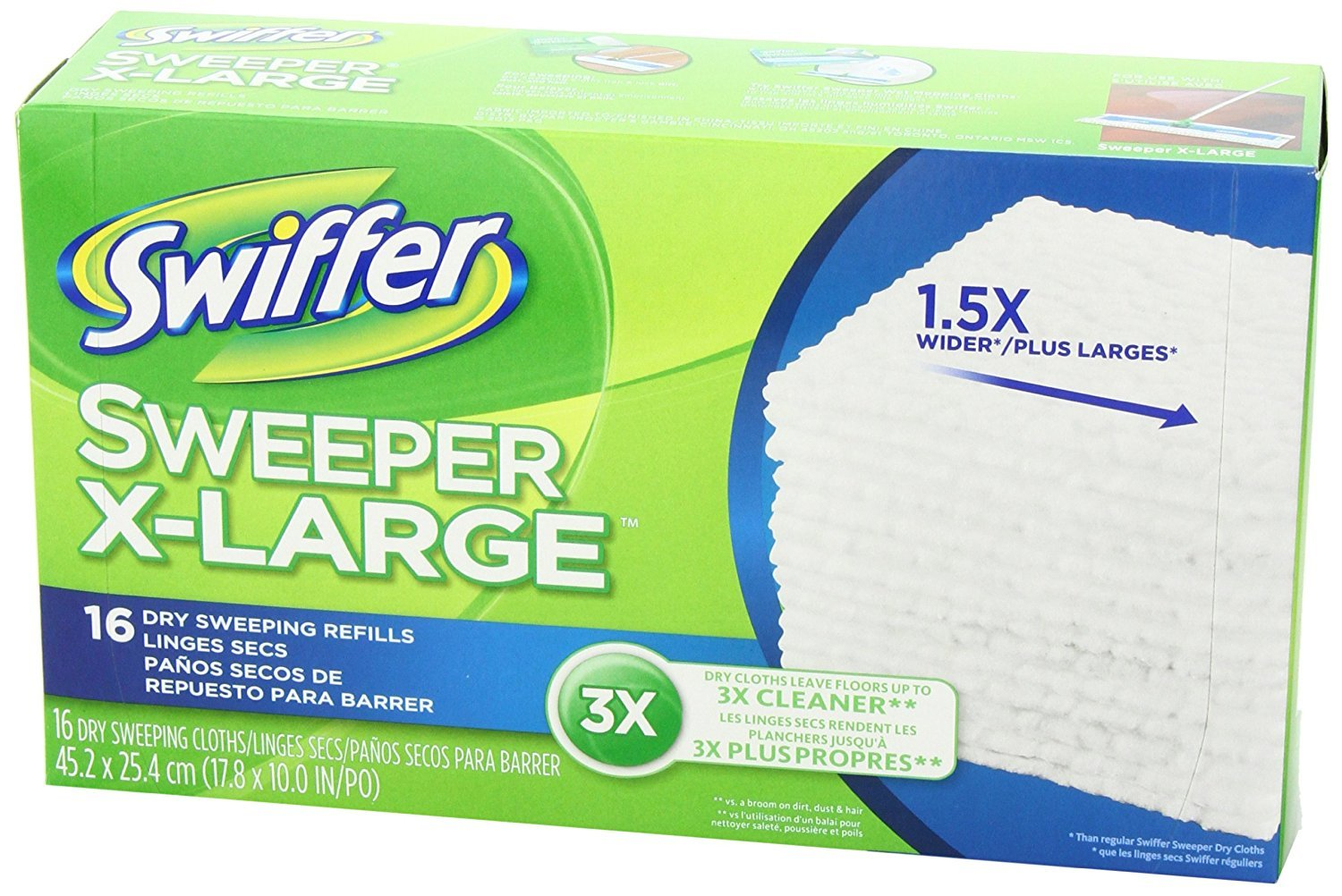 Swiffer Sweeper XL Dry Sweeping Pad Refills for Floor mop Unscented 16 Count (Pack of 6) by Swiffer (Image #7)