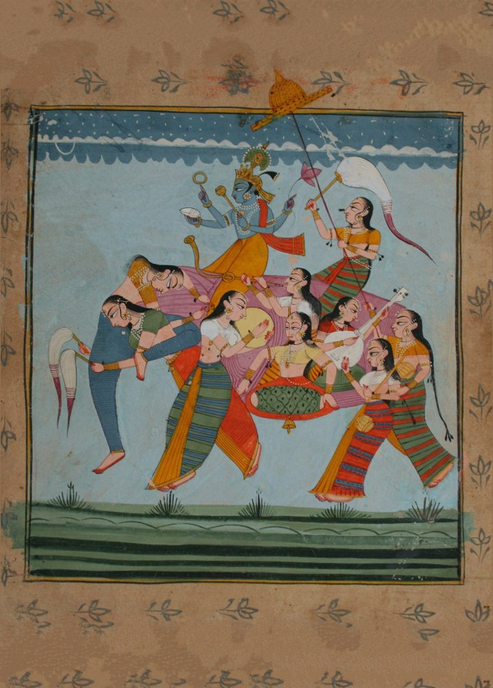 Bagan Krishna dancing with Gopis 1895 Classic Indian Art 250gsm Poster