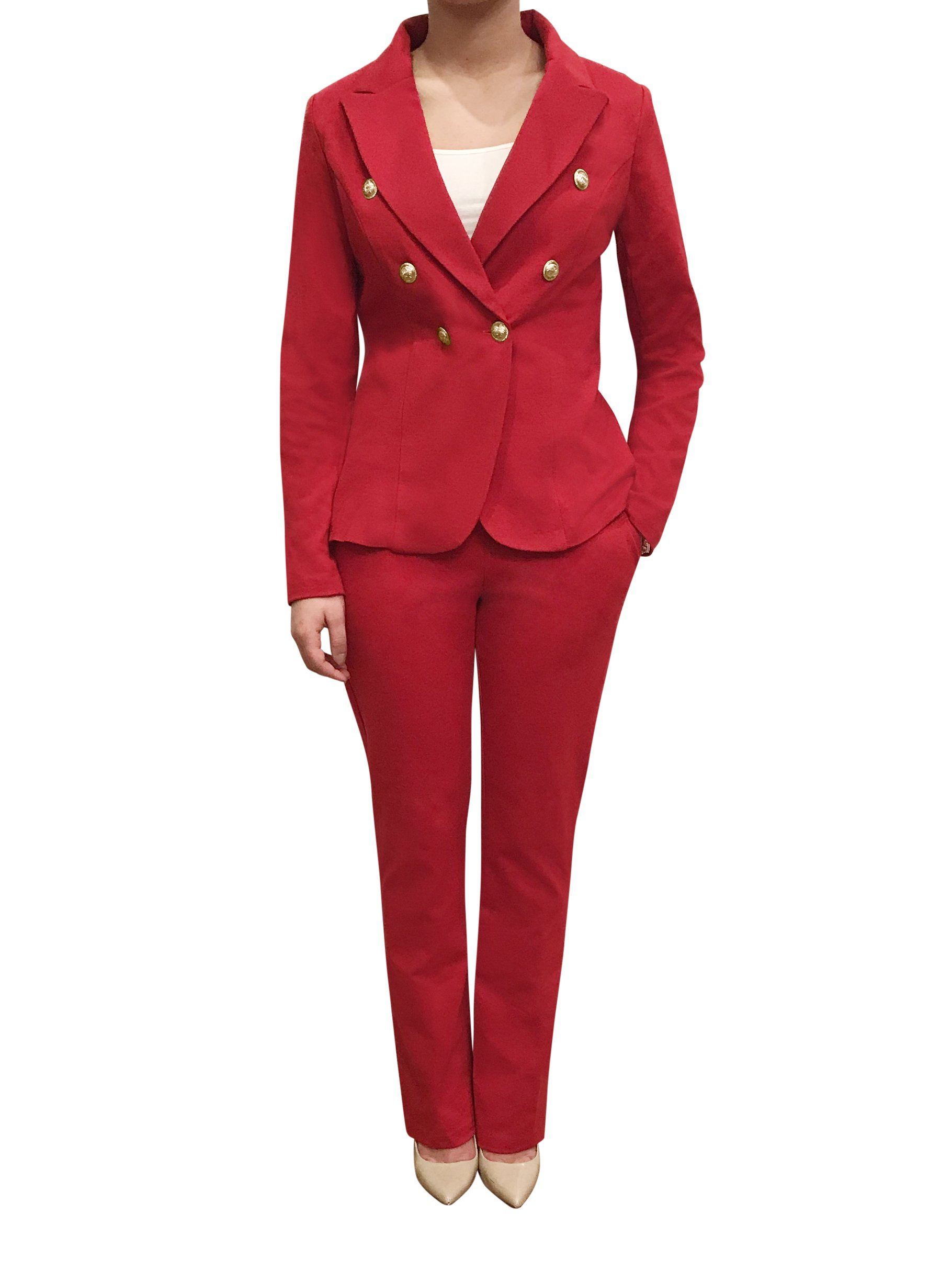 OrlyCollection Womens Double Breasted Gold Button Front Blazer Jacket(Red,Large)