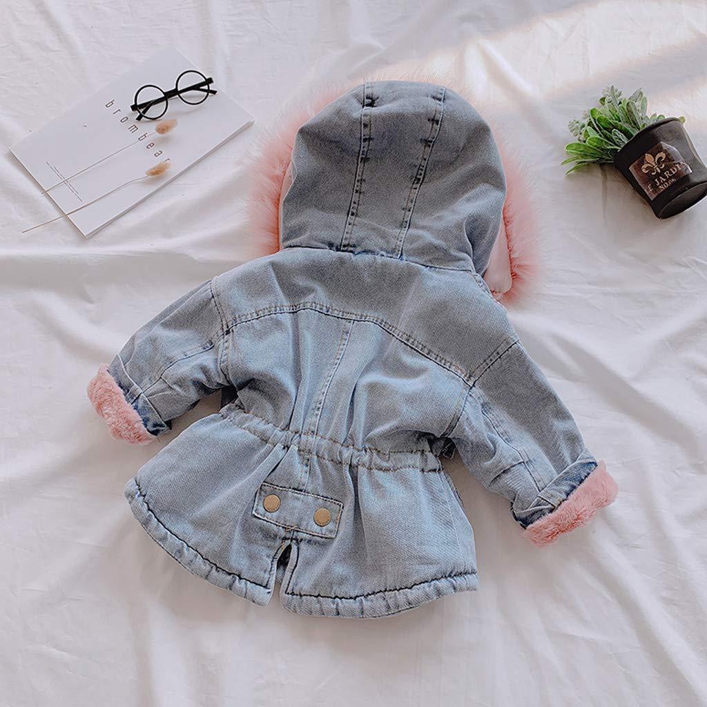 KFR4rh 2019 Baby Girls Thick Denim Jacket Toddler Kids Hooded Faux Fur Fleece Warm Jean Coat Outwear