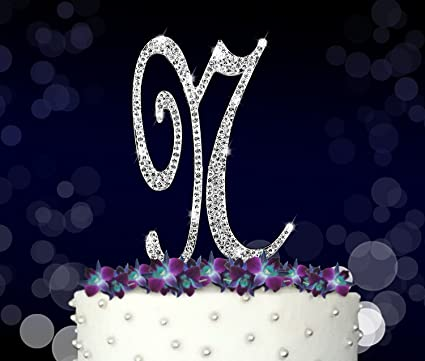 letter n initials happy birthday cake topper wedding anniversary vow renewal